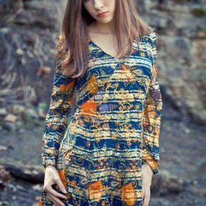 Psychedelic metallic patterned Vintage Arnel Dress